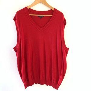 Red Sweater Vest Club Room Mens Vneck 2XB